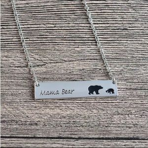 Mama Bear Necklace with One Cub